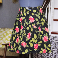 Half Aprons for Women, Black Pink Flowers Roses Half Apron, Aprons for Sale, Womens Aprons Vintage