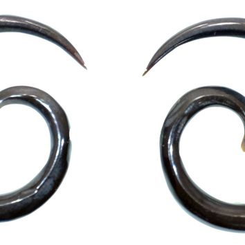 Hand Carved Horn or Bone Spiral Gauged Earrings