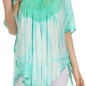 Sakkas Ragini Tie Dye  Lace Accent Delicate Embroidered Poncho Top / Cover Up