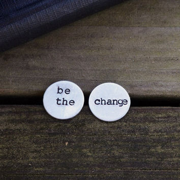 Be the Change Stud Earrings - Modern - Reader - Silver - Teacher - Librarian - Rustic - Geometric - Studs - Under 25 - For Her - Gift