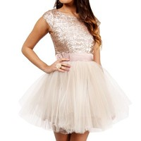 Taima-Gold Short Prom Dress