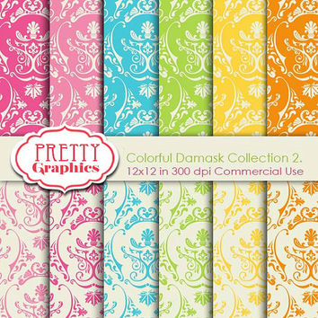 DAMASK PAPERS - Collection 2. - Printable Papers - Commercial Use - 12x12 JPG Files - Scrapbook Papers - High Quality 300 dpi