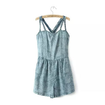 Women's Fashion Print Denim Spaghetti Strap Backless Slim Romper [4919898820]