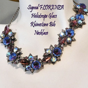 Vintage FLORENZA  Necklace Swarovski Heliotrope Glass Rhinestone Crystal AB Aurora Borealis Necklace Choker Mid Century 1950s Hollywood