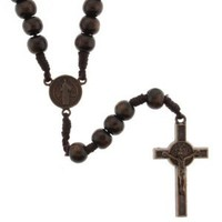 Brown Round Bead Rosary with Saint Benedict Crucifix and Centerpiece with 8mm Beads - 26'' Necklace Length, 17.5'' Overall