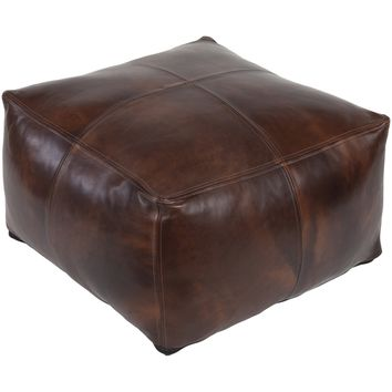 Square Leather Ottoman | Brown