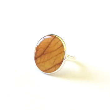 Natural Yellow Brown Leaf Ring, Sterling Silver Plated, Leaf Resin Dome Ring, Lead and Nickel Free