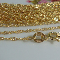 Sterling Silver Singapore Chain 18K Gold Plate, 1 pc, 16 Inches, 1.5mm - Made in Italy