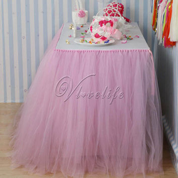 10PCS 100cm x 80cm Light Pink Tulle Tutu Table Skirt Tableware for Wedding Party Baby Shower Birthday Xmas Reception Table Decor