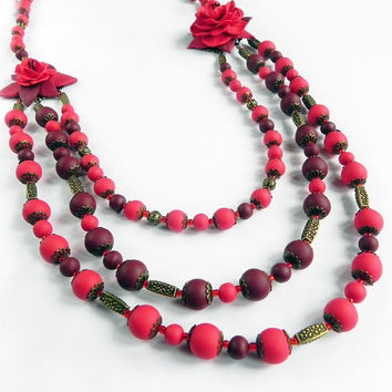 Floral necklace and bracelet Set Polymer clay jewelry Handmade Red Vinous color jewelry
