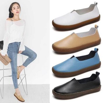 Genuine Leather Shoes Women Platform Flats Slip On Summer Loafers Rubber Sole Blue Moccasins Ladies Flat Shoes Zapatos Mujer