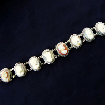 9 Cameo Antique Bracelet