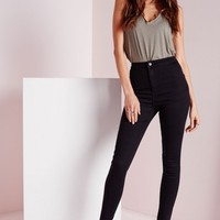 Missguided - Vice High Waisted Skinny Jeans Black
