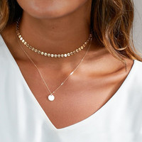 2 Layer Manual chain Gold Dainty Woman Choker Necklace Round Tablets Perfect Layering Necklace For Gril Gift XL7613