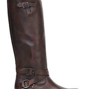 Frye Womens Veronica Criss Cross Tall Boots Maple Leather