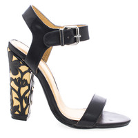 Vintage Black By Shoe Republic, Open Toe Sandal w Floral Pattern Wrapped On Chunky High Heel