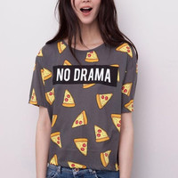 Gray Letter And Pizza Print Short-Sleeve Shirt