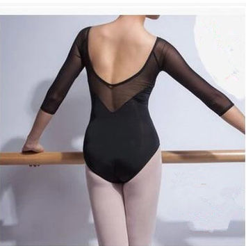 Women's Ballet Black Mesh Leotard