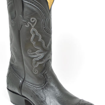 Gavel Handcrafted Men's 4-Piece Ostrich Cowboy Boots Black