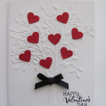 Embossed Heart Tree Card, Valentines Day,Love, Hearts, Happy Valentines Day