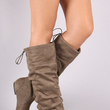 Qupid Suede Slouchy Drawstring-Tie Flat Boots