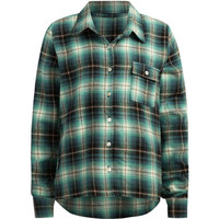 Full Tilt Step Hem Girls Flannel Shirt Blue Combo  In Sizes