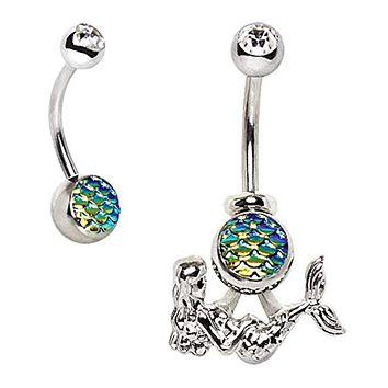 316L Stainless Steel 2-in-1 Fish Scale Cabochon WildKlass Mermaid Navel Ring