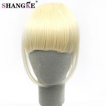 SHANGKE Short Fringe Blonde Clip In Hair Bangs Hairpiece Heat Resistant Fake Bangs Hair Piece Natural Clip In Hair Extensions