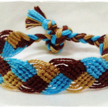 Blue Brown Braided Macrame Knotted Friendship Bracelet - Woven Wristband - Support our Cause