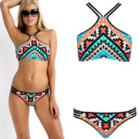 Sexy High Neck Bikini Set 2PCS Tops+ Bottom Floral Print Bathing Suit Swimwear
