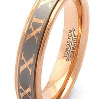 King Ice Rose Gold Roman Numeral Tungsten Carbide Ring