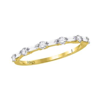 10kt Yellow Gold Womens Round Baguette Diamond Stackable Band Ring 1/3 Cttw