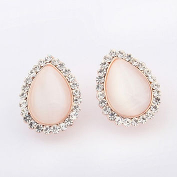 free shipping high quality delicate design pink opal big stud earrings for women Kupe