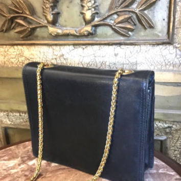 Navy Blue Leather Shoulder Bag PRESWICK & MOORE Designer
