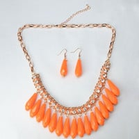 Beautiful Orange Bohemian Style Alloy and Resin Rhinestone-encrusted Necklace and Earrings Set
