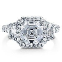 Asscher Cut Cubic Zirconia CZ 925 Sterling Silver Halo Ring 3.01 Ct #r745