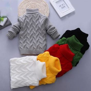 Baby Boys Turtleneck Sweater Tiny Cottons Knitted Pullover