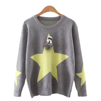 Women's Creative Star Pattern Knitted Pullover Sweater Jumper