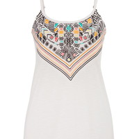 Multicolor Graphic Print And Embroidered Tank - White