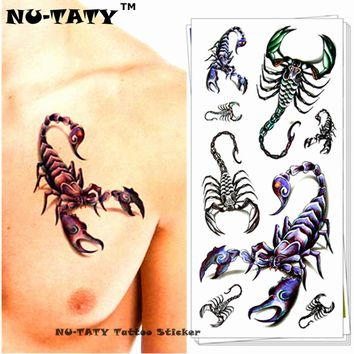 Nu-TATY Scorpion King 3d Temporary Tattoo Body Art Flash Tattoo Sticker 19*9cm Waterproof Fake Tatoo Home Decor Wall Sticker