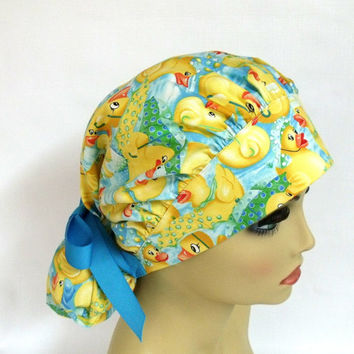 Surgical Scrub Hat or Cap  Womens Bouffant   Ducks on a Pond