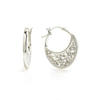 Small Sterling Silver Hoop Earrings with Signature Design
