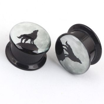 2pcs Unisex Acrylic Wolf Night Sky ear Gauge flesh plugs tunnel septum rings expansion expanders stretched body piercing jewelry
