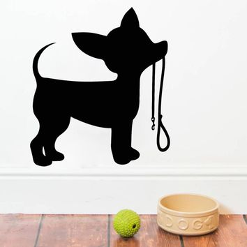 Little Dog Leash Wall Stickers Home Interior Decoration Silhouette Puppy Vinyl Wall Decal Chihuahua Art Sticker Cute Animal S228
