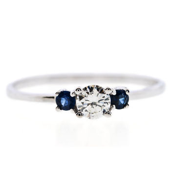 3 Stone 0.40CT Round Cut Diamond Sapphire 14K White Gold Engagement Ring