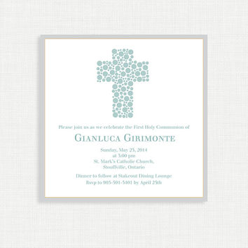 Boys Polkadot Baptism Invitation - Baby Dedication, First Communion, Confirmation, Christening - Printable invitation template