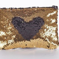 Adorable Gold/Black Sequin Pencil Cosmetic/Zippered Case Draw Your Own Design