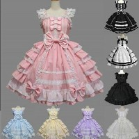 6 Types Princess Girl Dress Cinderella Halloween Victorian Gothic Lolita Dress Cosplay Costume Layered Women Party Maid Dress