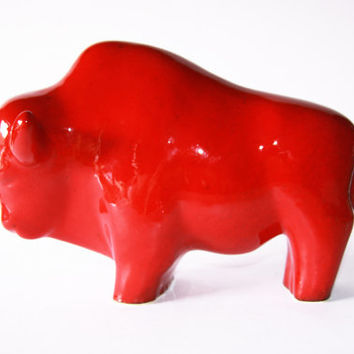 Mid-Century Large Red Ceramic Bull - 60s Ruscha
