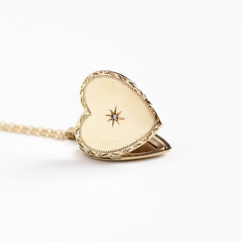 Antique Heart Shaped Star Incised Rose Cut Diamond Locket Necklace - Edwardian Era Circa 1910 Gold Filled Fob Photographic Pendant Jewelry